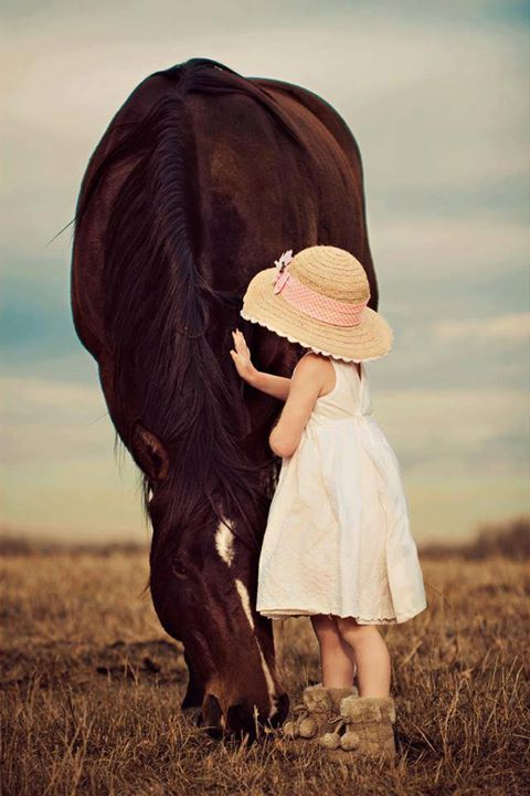 innocent and free love of girl for horse