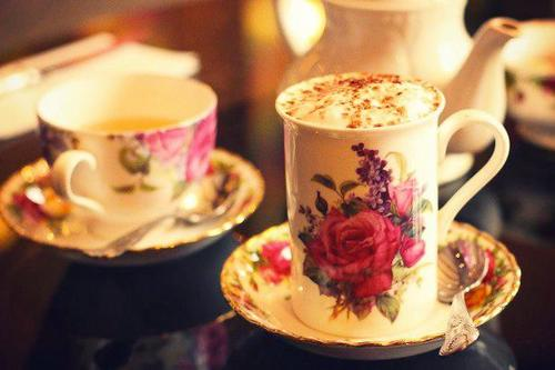 coffee in vintage rose cup