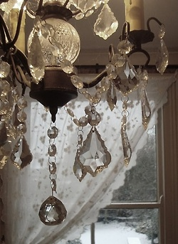 chandelier against the window