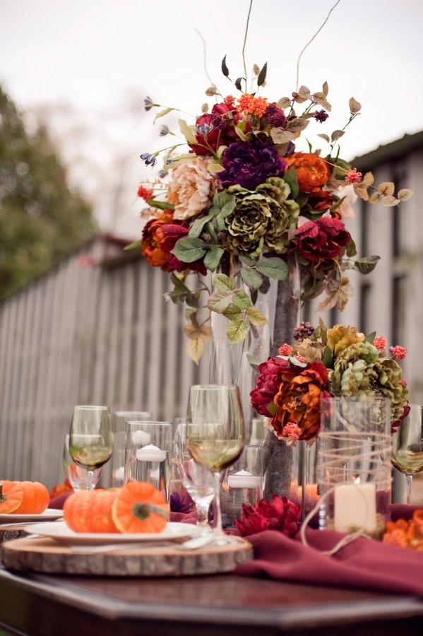 fall colored table setting