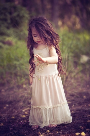 little girl in gown
