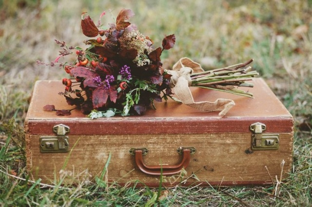 rustic fall bouquet with luggage