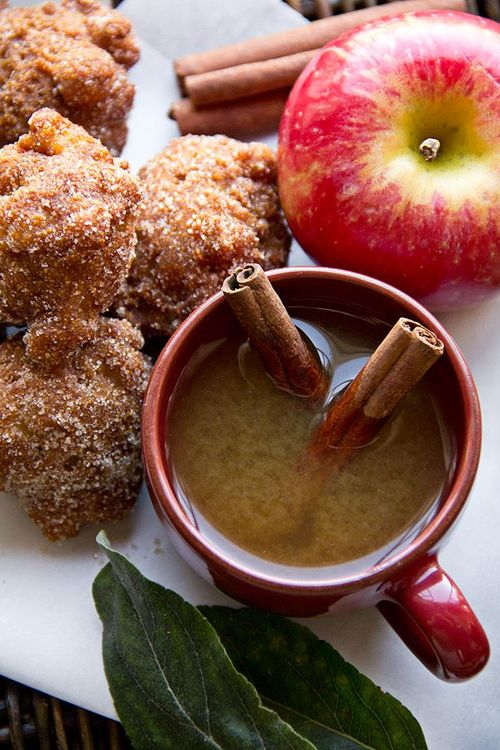 apple fritters and apple cider
