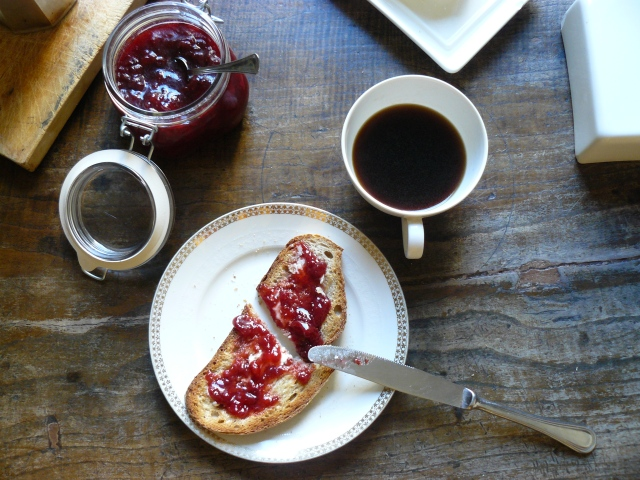 coffee and jam toast