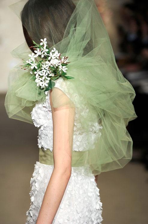 dress with green veil