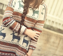 woman with deer sweater