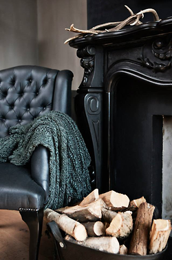 black fireplace mantle