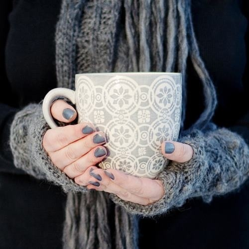 gray mug with sweater coffee