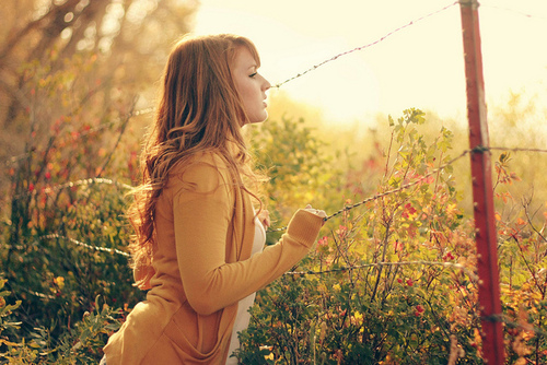 woman looking over wire fence