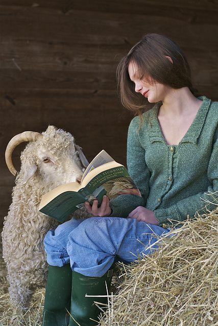 woman reading to lamb