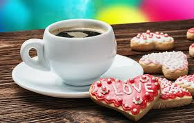coffee and valentines cookie